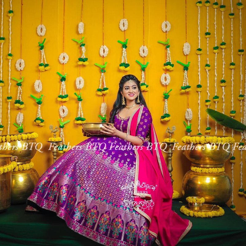 Gorgeous purple colour silver pattu lehenga and blouse with pink dupatta.  2021-04-30