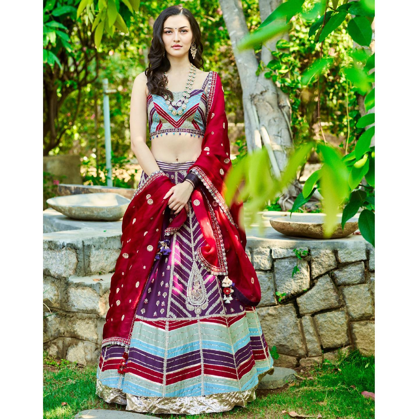 Phulwari . Regal purple patchwork kali lehenga with all over dori work paired with a contrast berry red dupatta with intricately embroidered zardosi flowers.  To shop our new collection Phulwari  DM us or Whatsapp us on +91 6302 878 533 2021-05-01