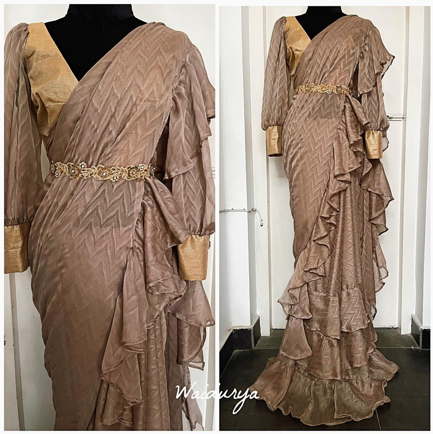 EMERSON is a true beauty! favorite shades of beige in a self print chevron silky sheen georgette. This sari is tailored in to a layered design with beautiful ruffles. The blouse is in the same fabric and this comes with a zardozi hand worked floral belt! 2021-05-01