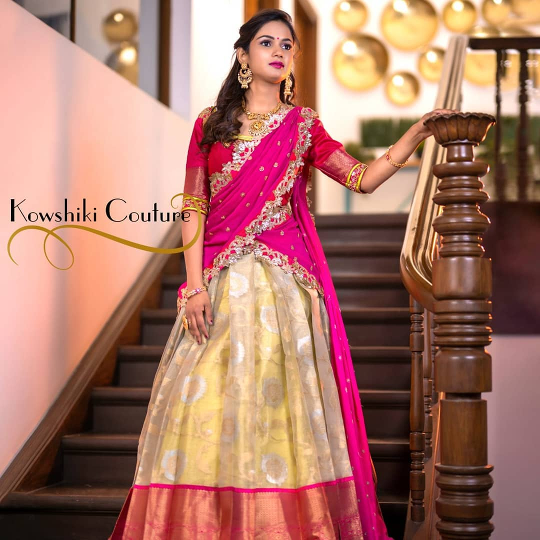 Gorgeous off white color pattu lehenga and pink blouse with net dupatta. Blouse with hand embroidery work.  2021-05-01
