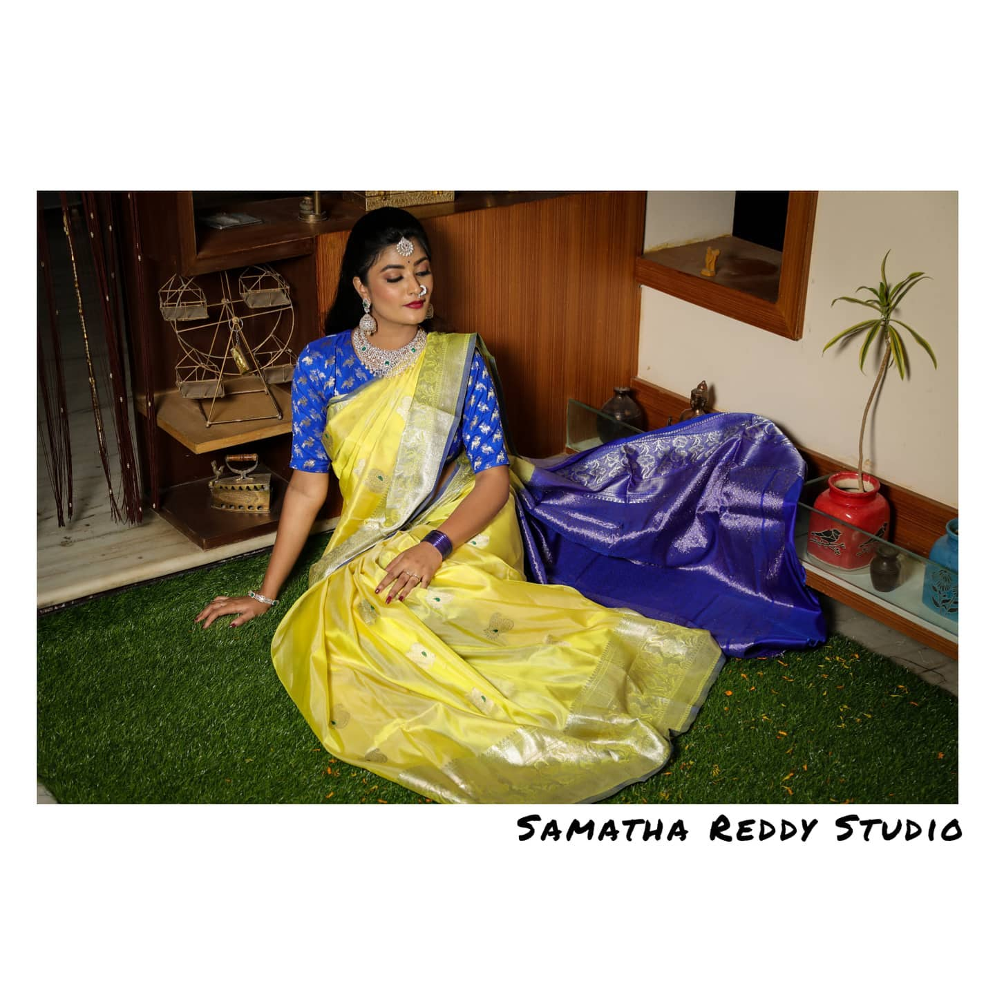 Gorgeous lime yellow and blue colour combination venkatagiri saree. 2021-05-02