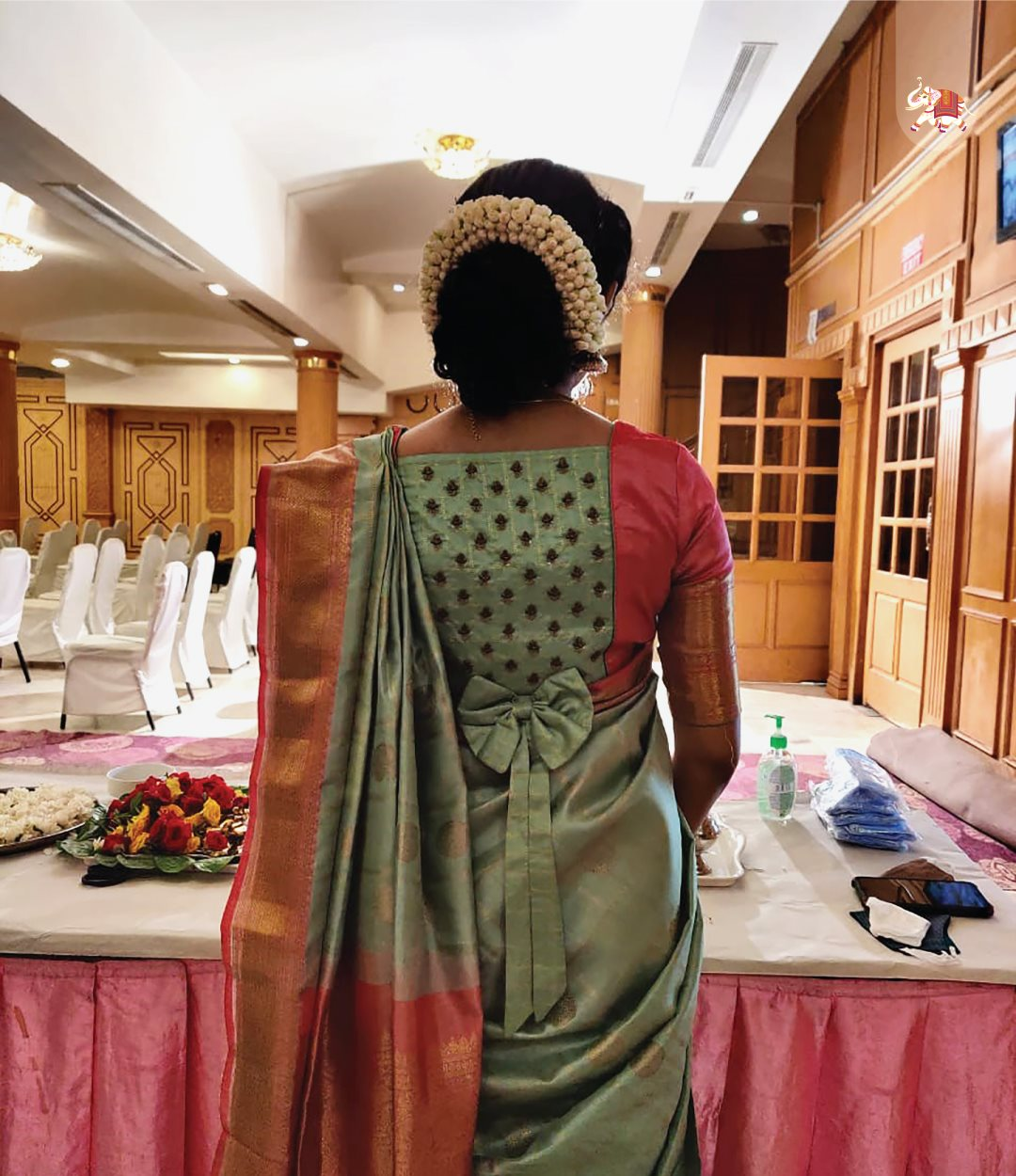 Customized Kanchi silk blouse with bow details and zardozi embroidery. 2021-05-03