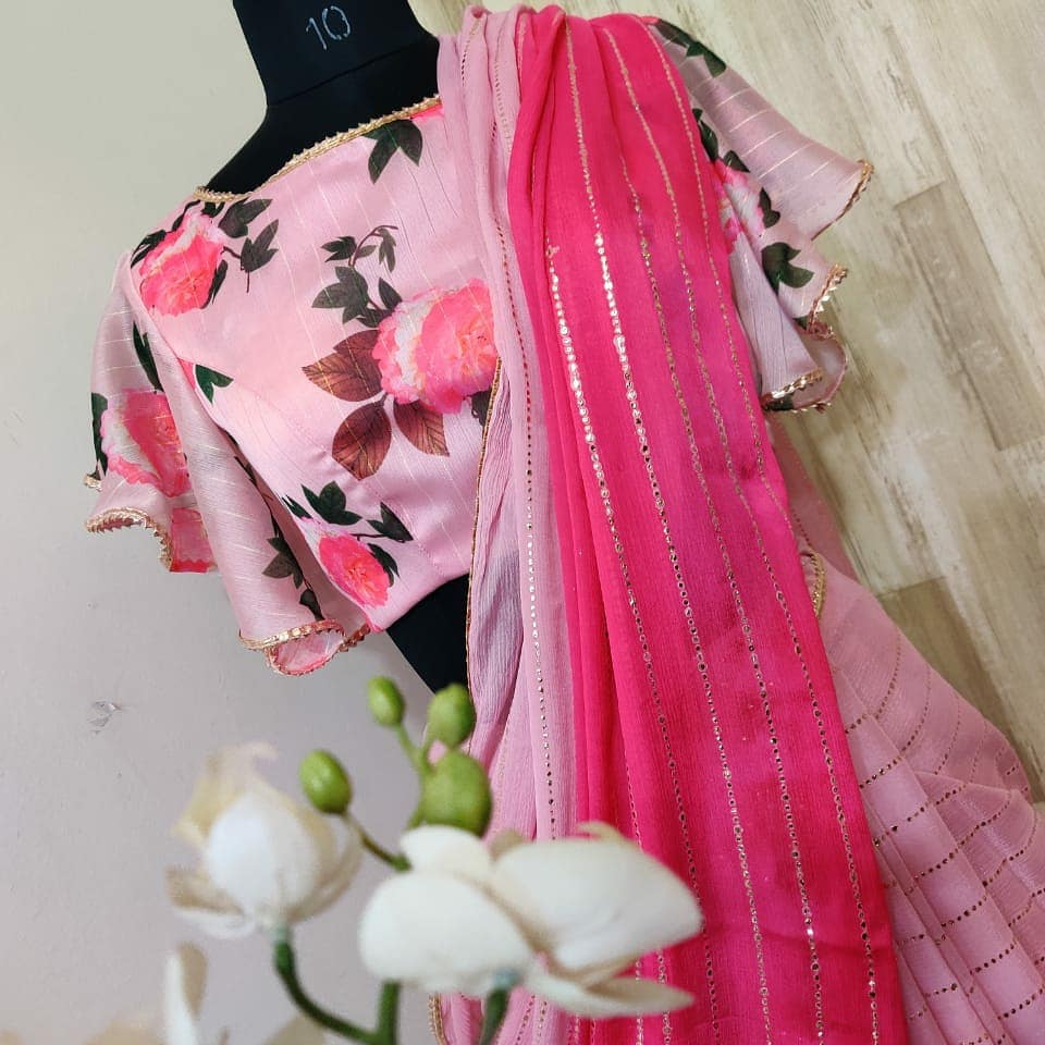 Beautiful designer shaded sarees with pretty floral blouse ....Collection no:034hv For price details contact/watsapp on +917799503713 2021-05-03