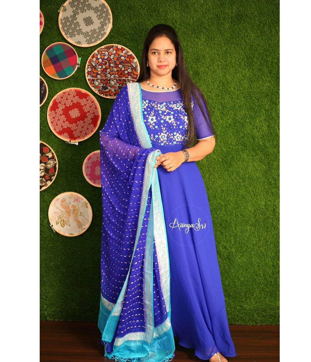 Neelamani. Price : RS. 6800/- Royal blue intricate hand worked long frock with pure chiffon banaras khaddi dupatta with a sheer yoke. 2021-05-03