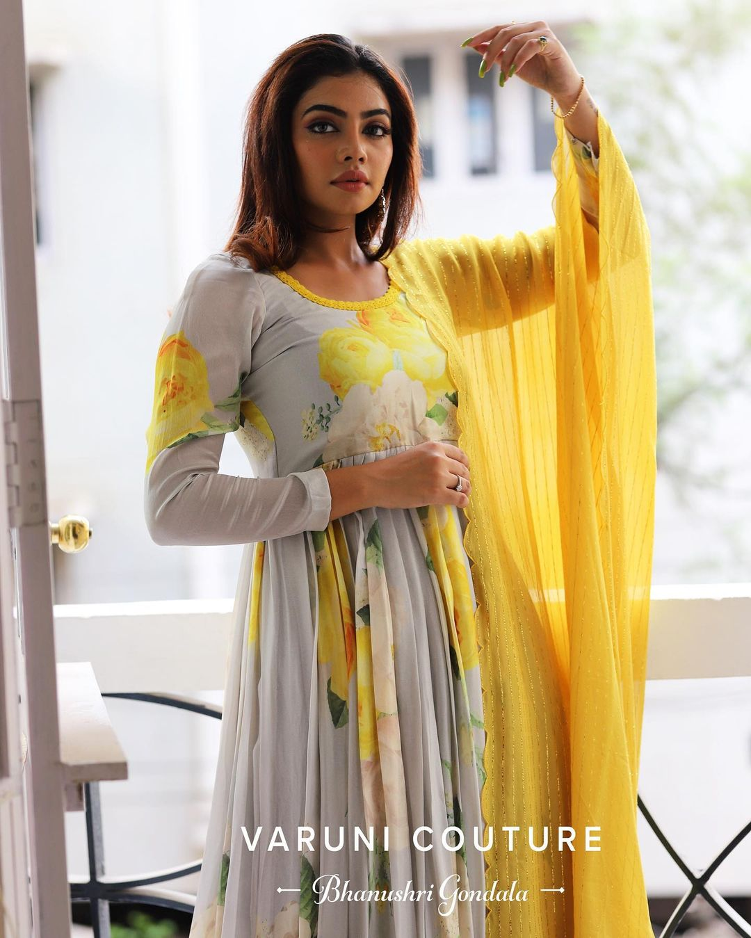 Stunning gray colour floral annarkali dress with yellow net dupatta. Outfit priced at 8200 INR.  For orders /sales WhatsApp 9121017226. 2021-05-03
