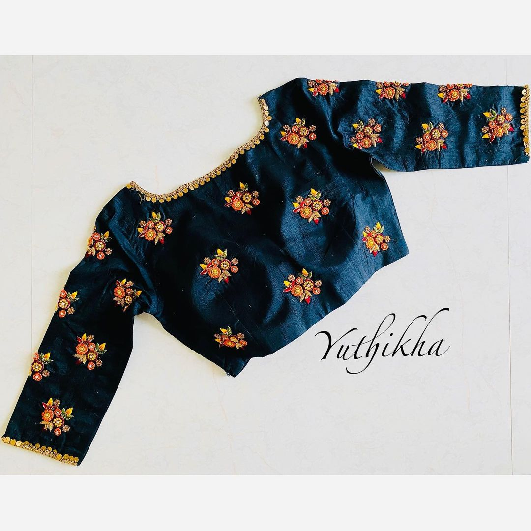Blouse with colourful embroidery !!! Love  the colours with Black !!!! Simple and  Elegant French knot embroidery blouse from the house of Yuthikha designer studio!!! 2021-05-03