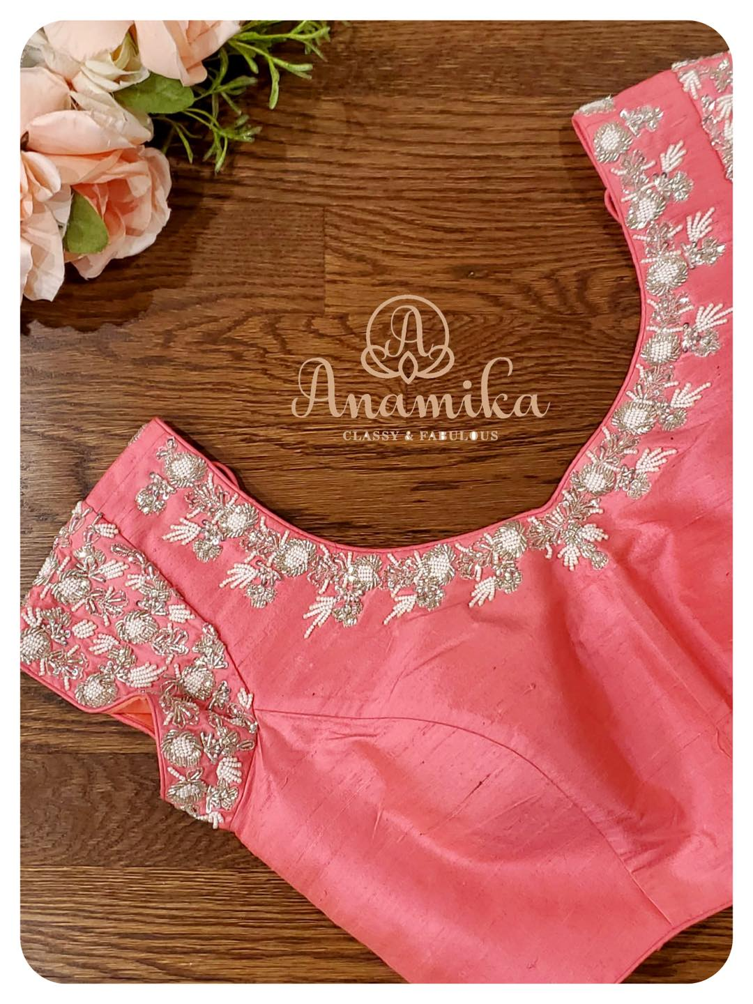 Stunning pastel pink colour short sleeve blouse with bead aari work on neckline and sleeves. 2021-05-04