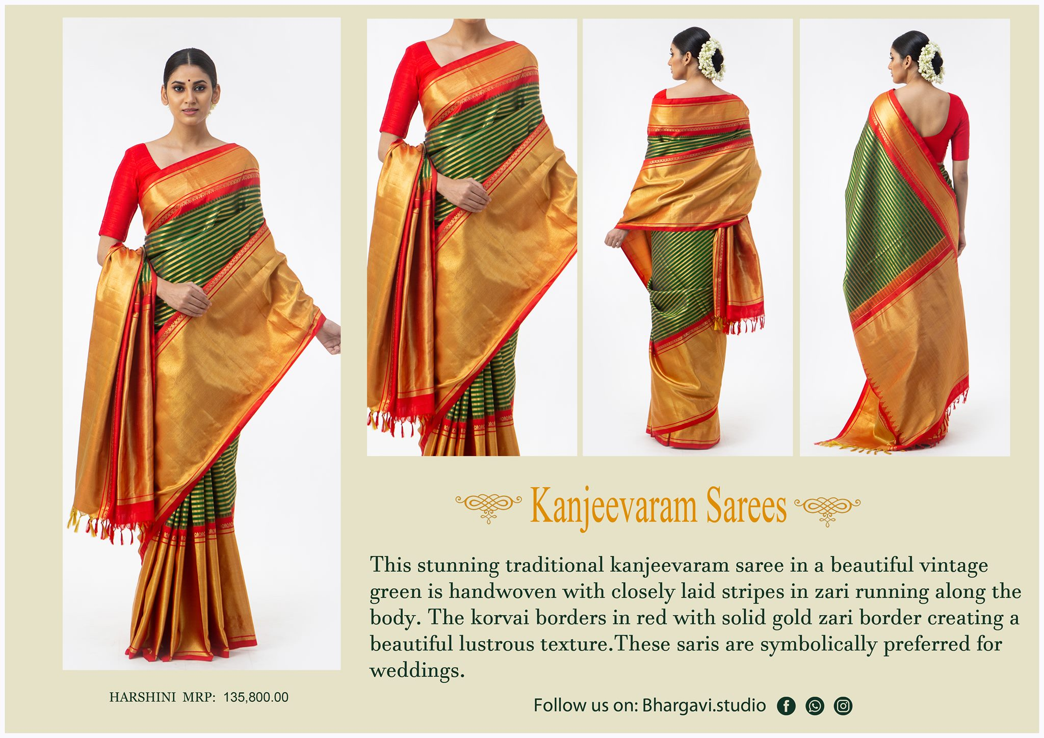 This stunning traditional kanjeevaram saree in a beautiful vintage green is hand woven with closely laid stripes in zari running along the body. The korvai borders red with solid gold zari boarder. 2021-05-04