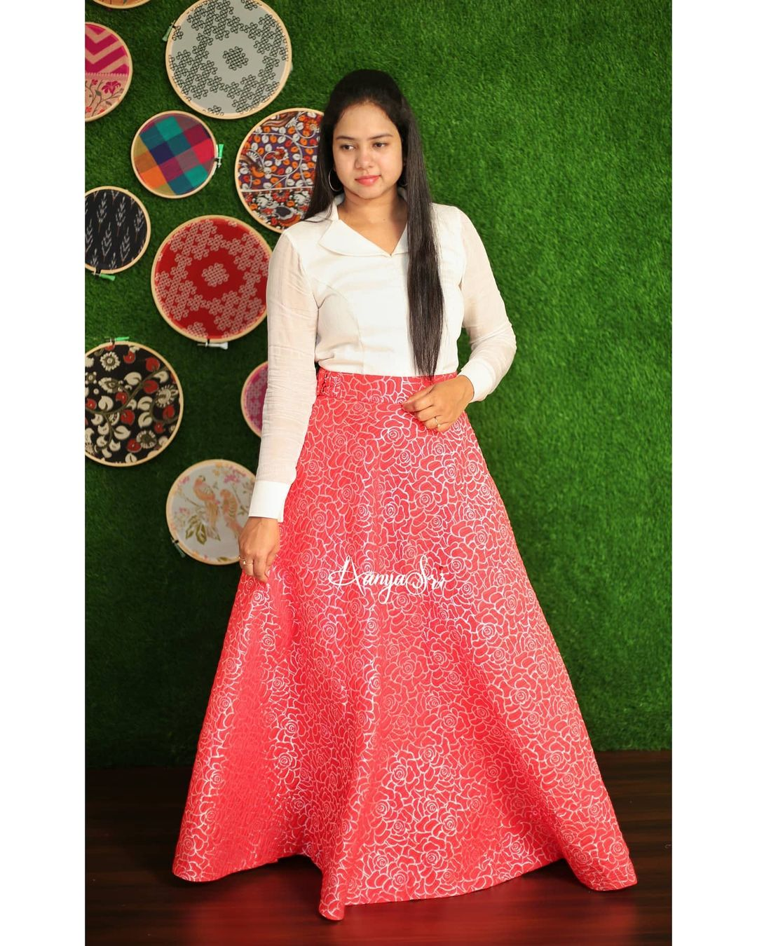 Red Rose. Price : RS. 3200/- Red roses embossed design skirt paired with white shirt for that chic look. 2021-05-04