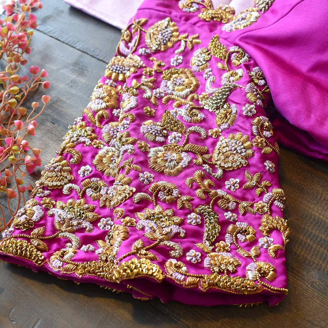 New found for florals! Using frenchknot technique  pearls and beads embroidered in zardosi with our all te favourite vanki finish.  A collection of bridal blouses seen in the last few months. 2021-05-04