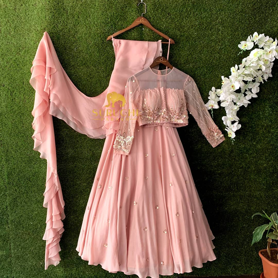 Pretty in Pink! Light weight lehenga with beautiful details in the blouse and a three layered dupatta perfect for the weddings coming up!  2021-05-04