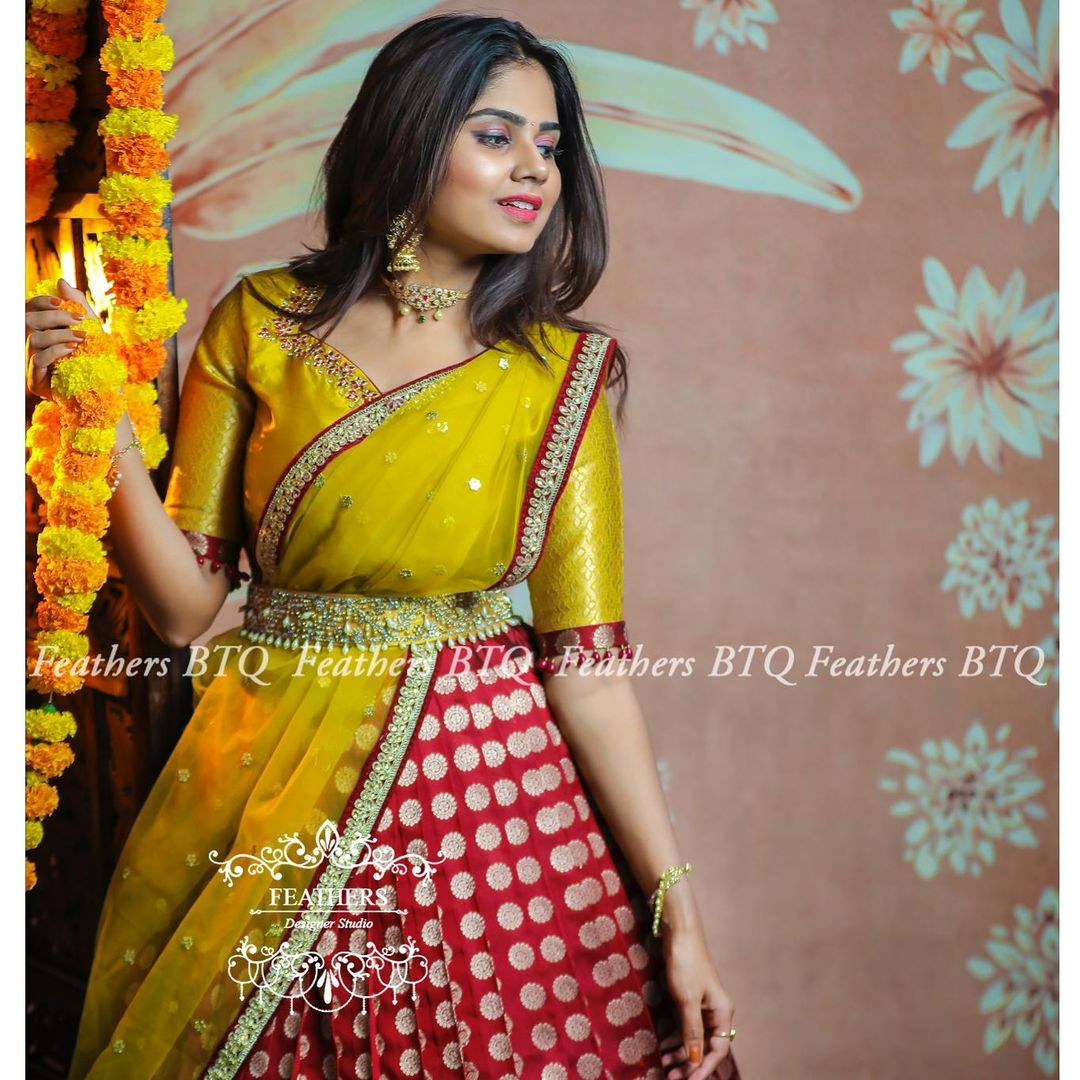 """Exclusive Bridal lehangas """" A unique and wide range of bridal collections.. """". Stunning mustard yellow and maroon color combination pattu lehenga set. 2021-05-04"""