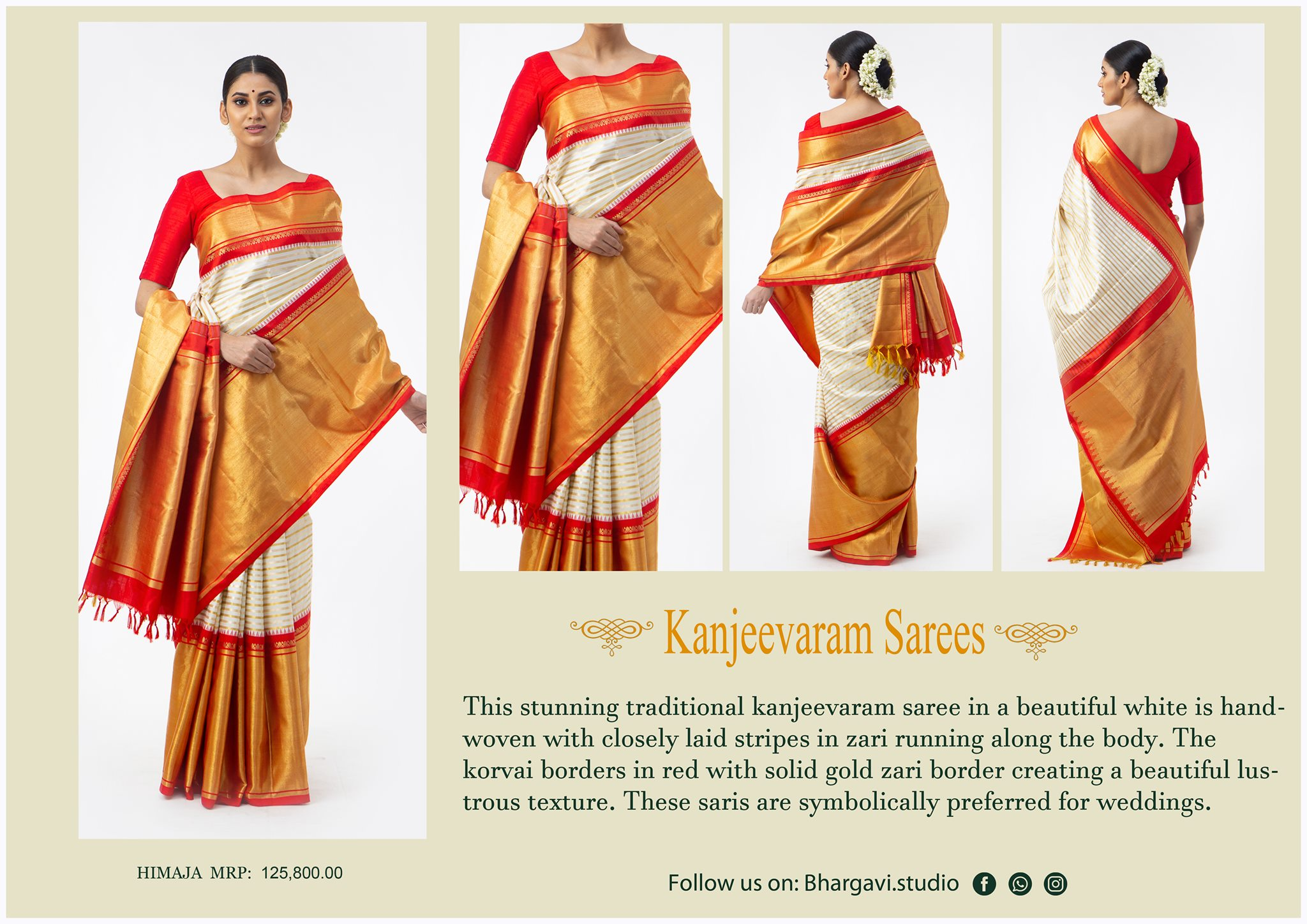 This timeless traditional kanjeevaram saree in alovely white is hand woven with closely laid stripes in jari running along the body. The korvai boarders in pretty red with solid gold zari boarder creating a beautiful lustrous texture.   2021-05-05