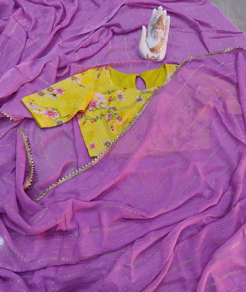 Lavender Pure Georgette saree paired up with floral sequince embroidery work blouse. Price : 4000/- To order contact  on whatsapp : 9701673187. 2021-05-05