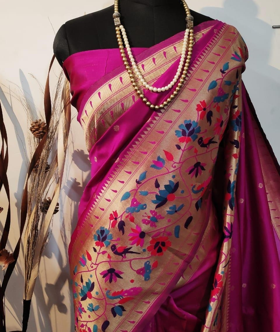1650/- Available Designer Banarasi Handloom paithani weaving border saree with running blouse with border WhatsApp for order 9949519207 2021-05-05
