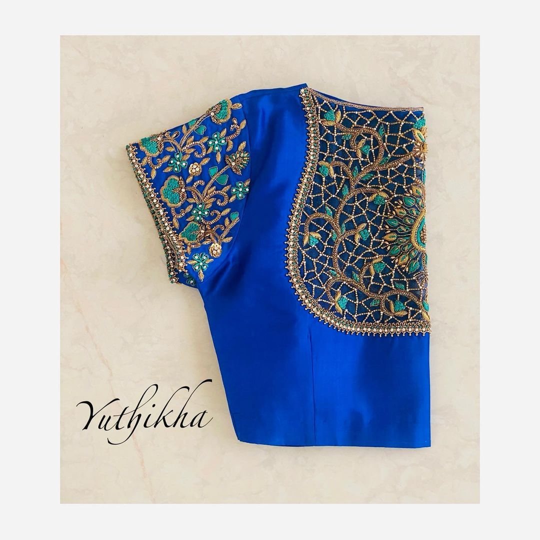 Stylish blue colour cut work embroidery blouse design from the house of Yuthikha designer studio !!! Customised embroidery blouse design! 2021-05-05