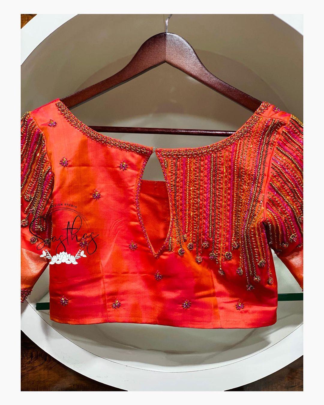 Stunning blouse sleeve design with zardosi work. 2021-05-05