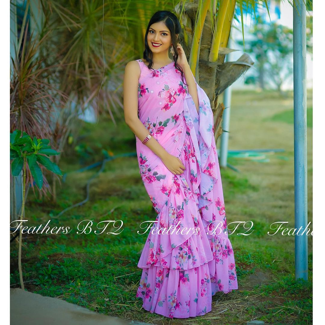 Stunning blush pink color floral ruffle saree. 2021-05-05