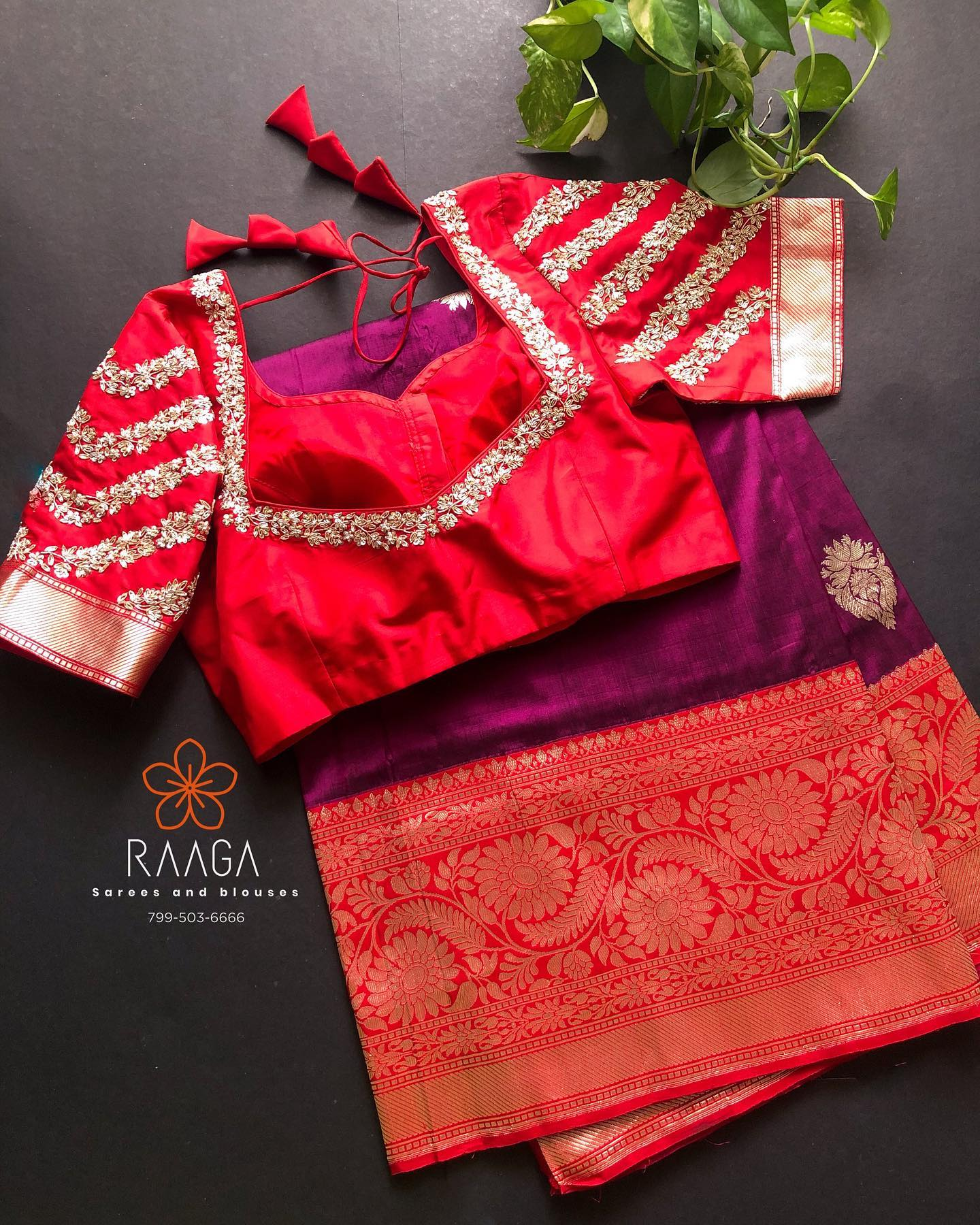 Custom made hand worked blouses paired up with pure silk sarees for upcoming wedding season .  2021-05-06
