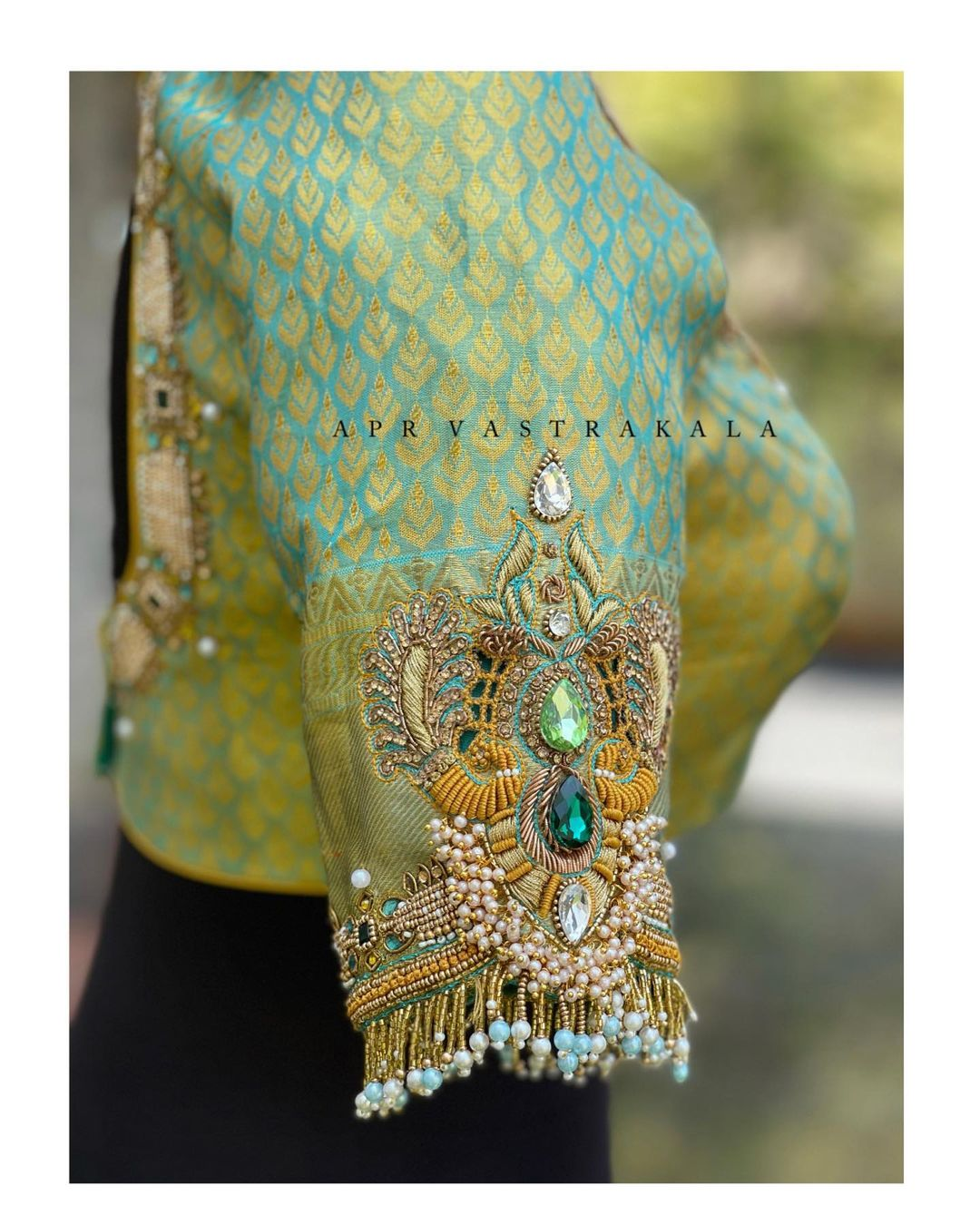 We convert our dream jewellery designs to embroidery on outfits. Stunning green brocade blouse with vanki design hand embroidery work on sleeves.  2021-05-06