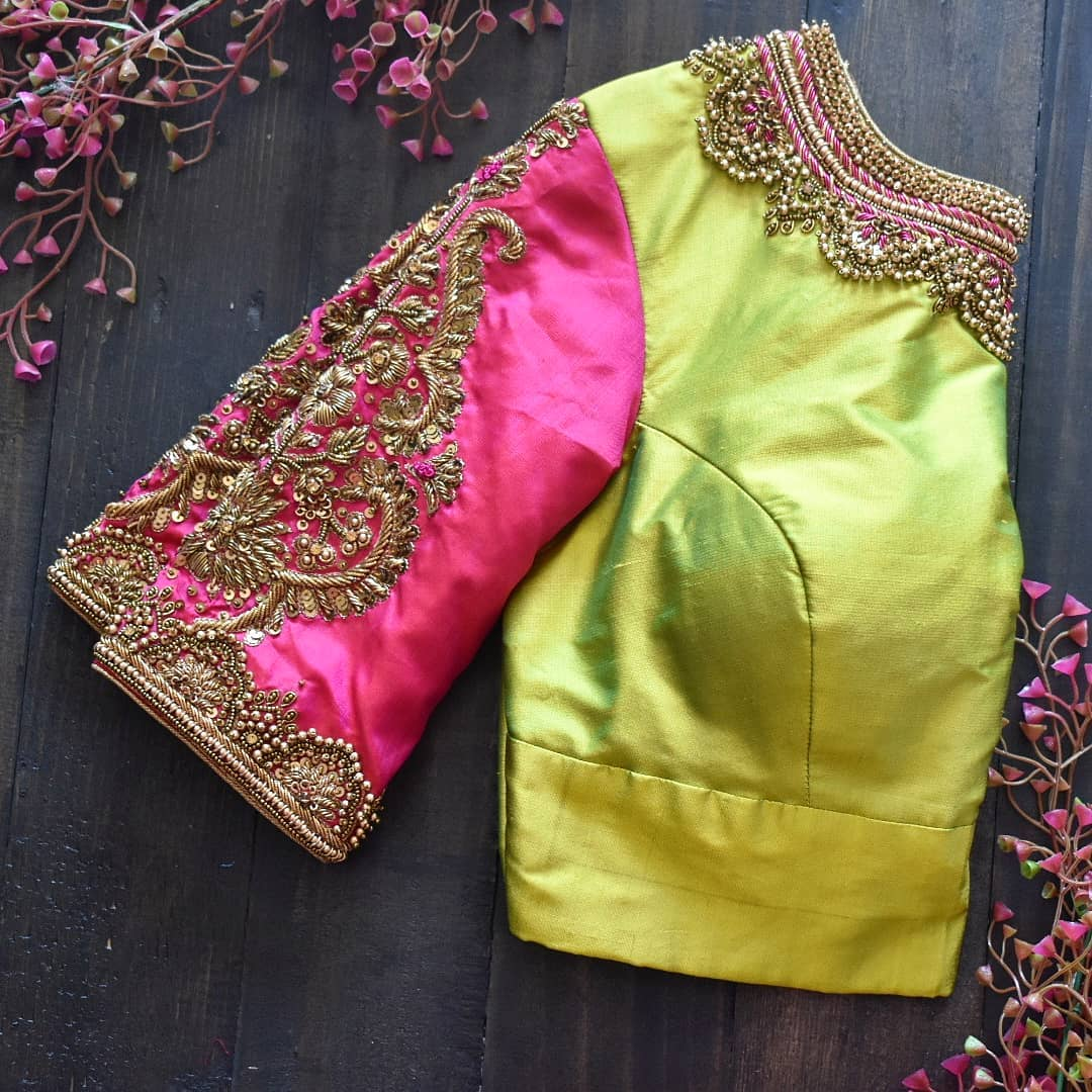 very crown embroidered in pure silk mixing two different colours with a neckline inspired from mehendi. 2021-05-06
