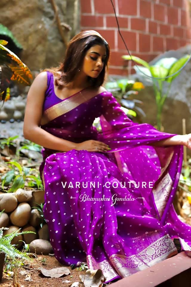 Stunning purple colour Bandhej Organza saree.  For enquiries or orders WhatsApp 9121017226 Email varunicouturehyd@gmail.com. 2021-05-07