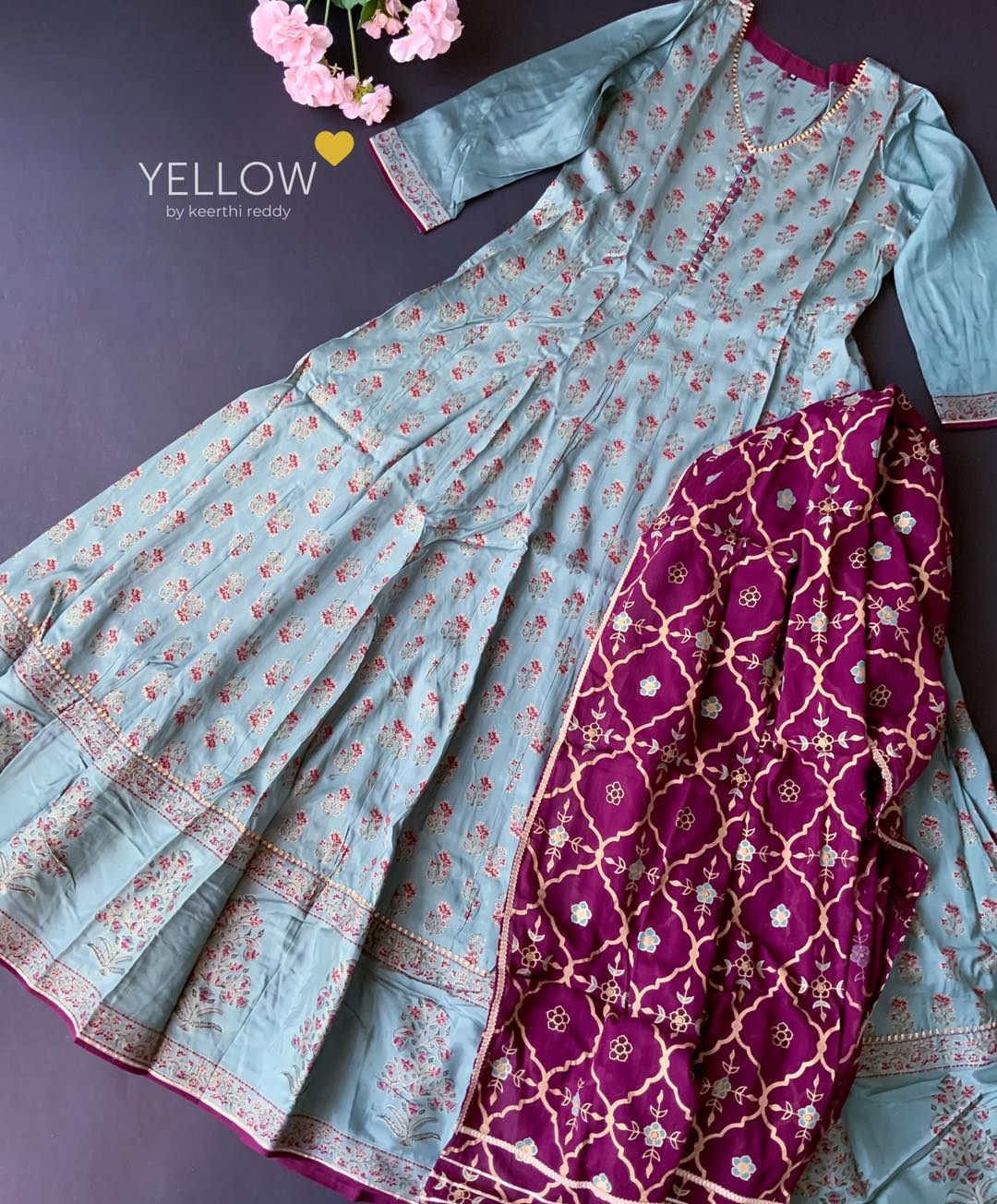 Pastel bluish green umbrella gown in muslin silk with foil printed florals paired up with cotton foil printed dupatta .  Size - M L XL XXL Price - 2899 INR  . . Kindly WhatsApp at 7995038888 for placing orders . 2021-05-07
