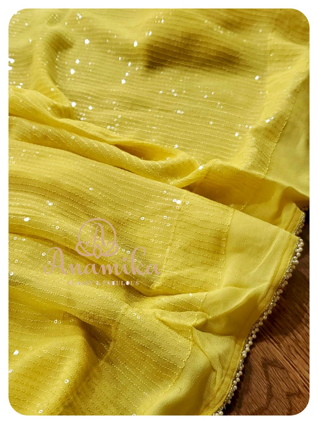 A sequins saree on georgette in a nice shade of yellow – rightly complemented with a tomato pink heavy work blouse. Embellished with sequins zardozi and cutdana – this sure will add a bling and glam  all that you need for your upcoming party !  DM 360-545-3636 for inquiries 2021-05-07