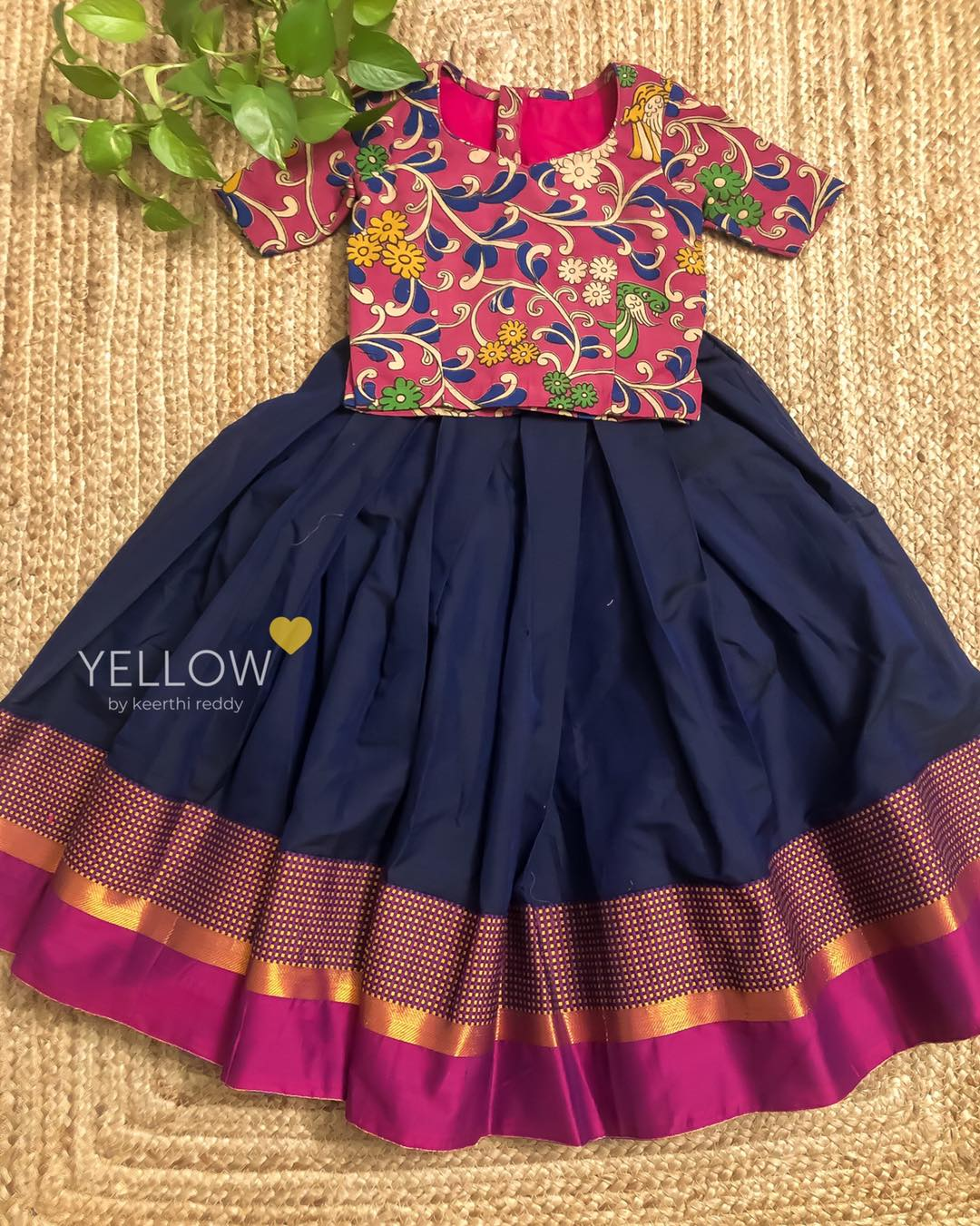 Custom made narayanpet cotton kids lehenga with cotton kalamkari blouse. 2021-05-07