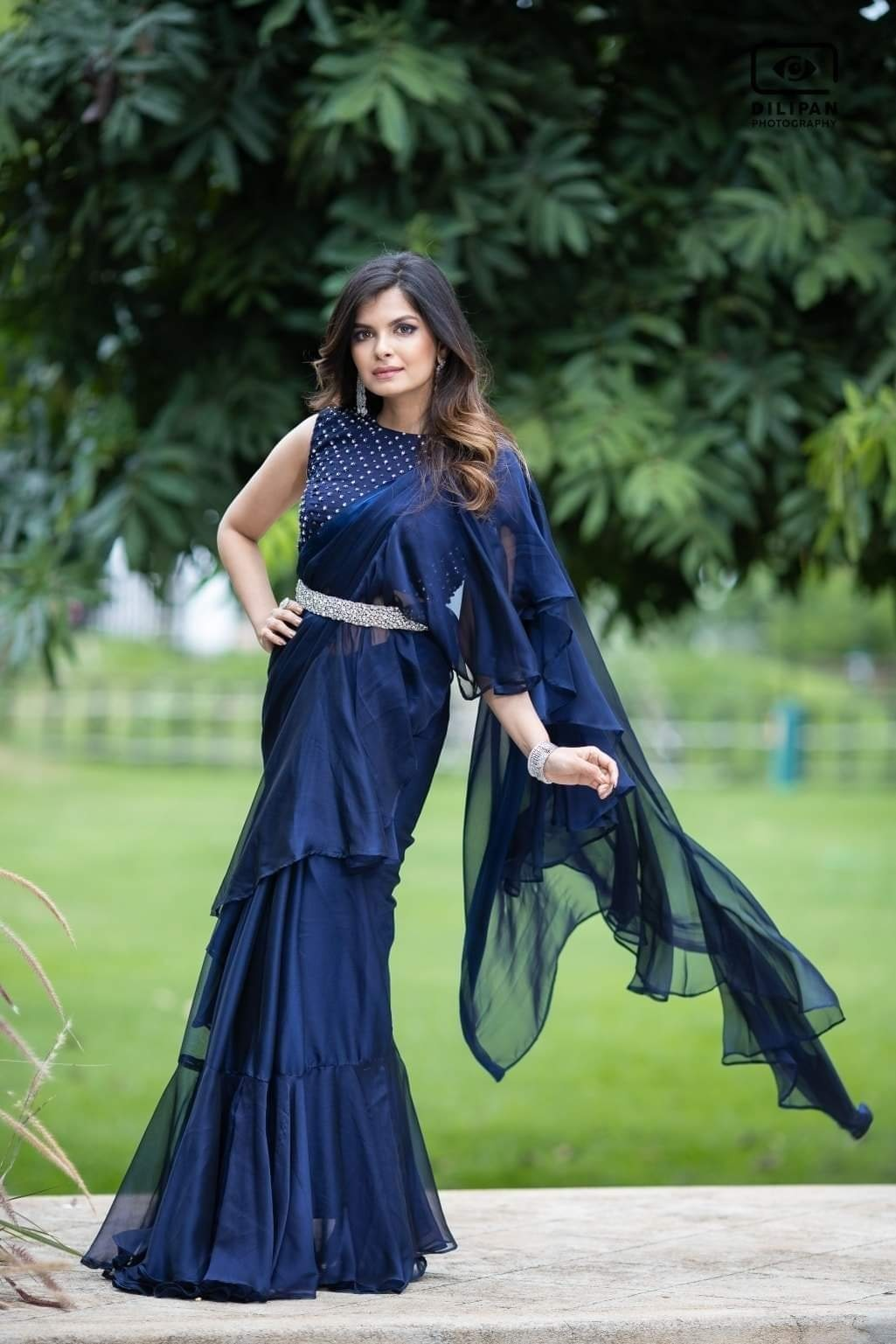 Statement blue Ruffle Saree . Get yours now!  For orders & queries please whatsapp  on  9952093562 or Reach  on 044 4262 4085. 2021-05-07