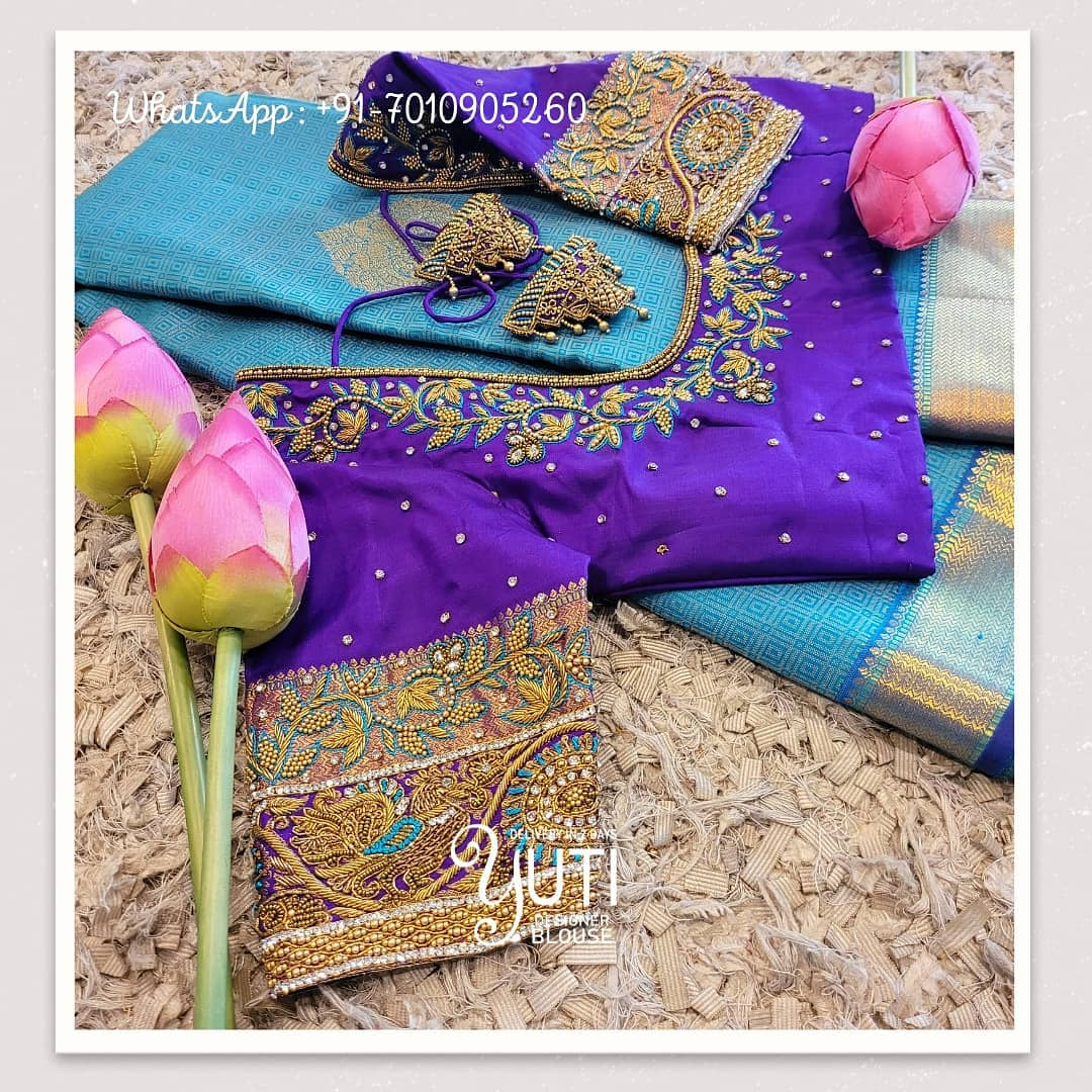Stunning purple color designer blouse design with swan and floral creeper hand embroidery stone and bead aari work.  2021-05-07