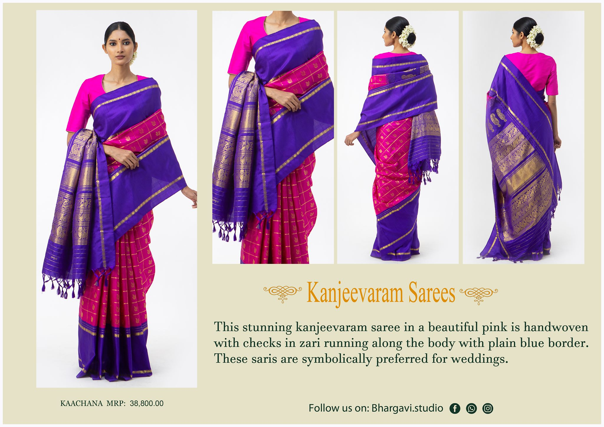 This stunning kanjeevaram saree in beautiful pink is hand woven with checks in zari running long the body with plain blue boarder.  Price : 38800/- 2021-05-07