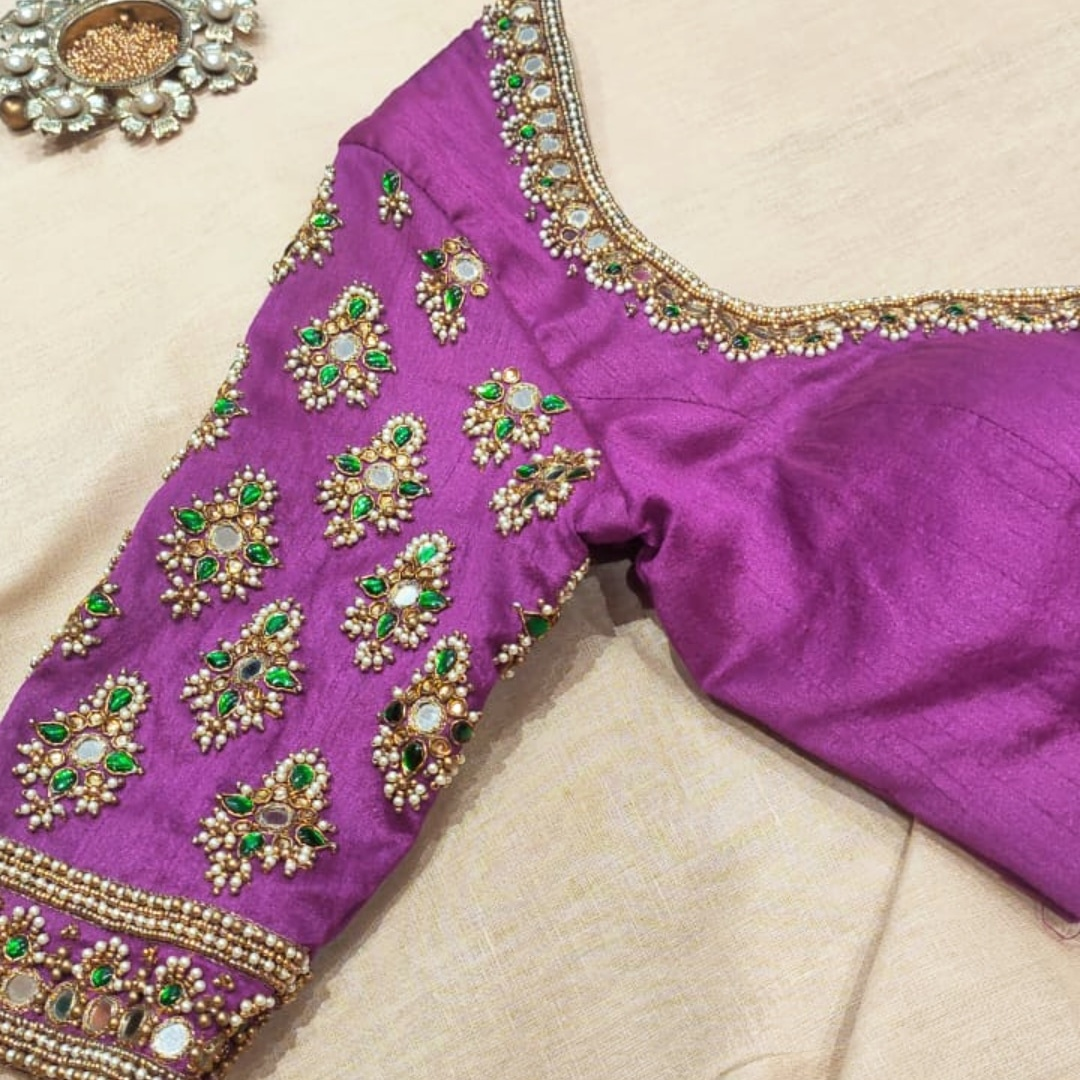 Embroidered Blouses . . Beautiful motifs embroidered with pearls mirrors stones and beads!!   Connect with  for your Customisation now!  For orders & queries please whatsapp  on  9952093562 or Reach  on 044 4262 4085. 2021-05-07