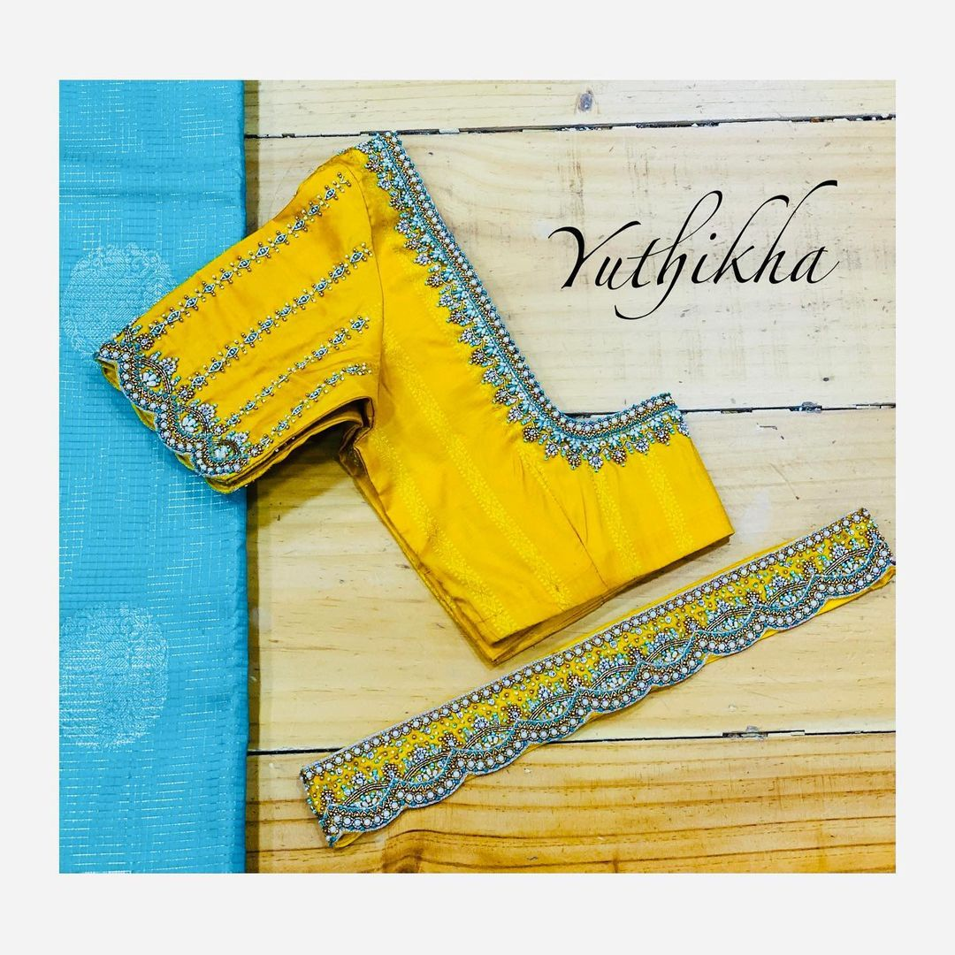 Customised embroidery blouse cum waistbelt from the house of yuthikha designer studio !!!