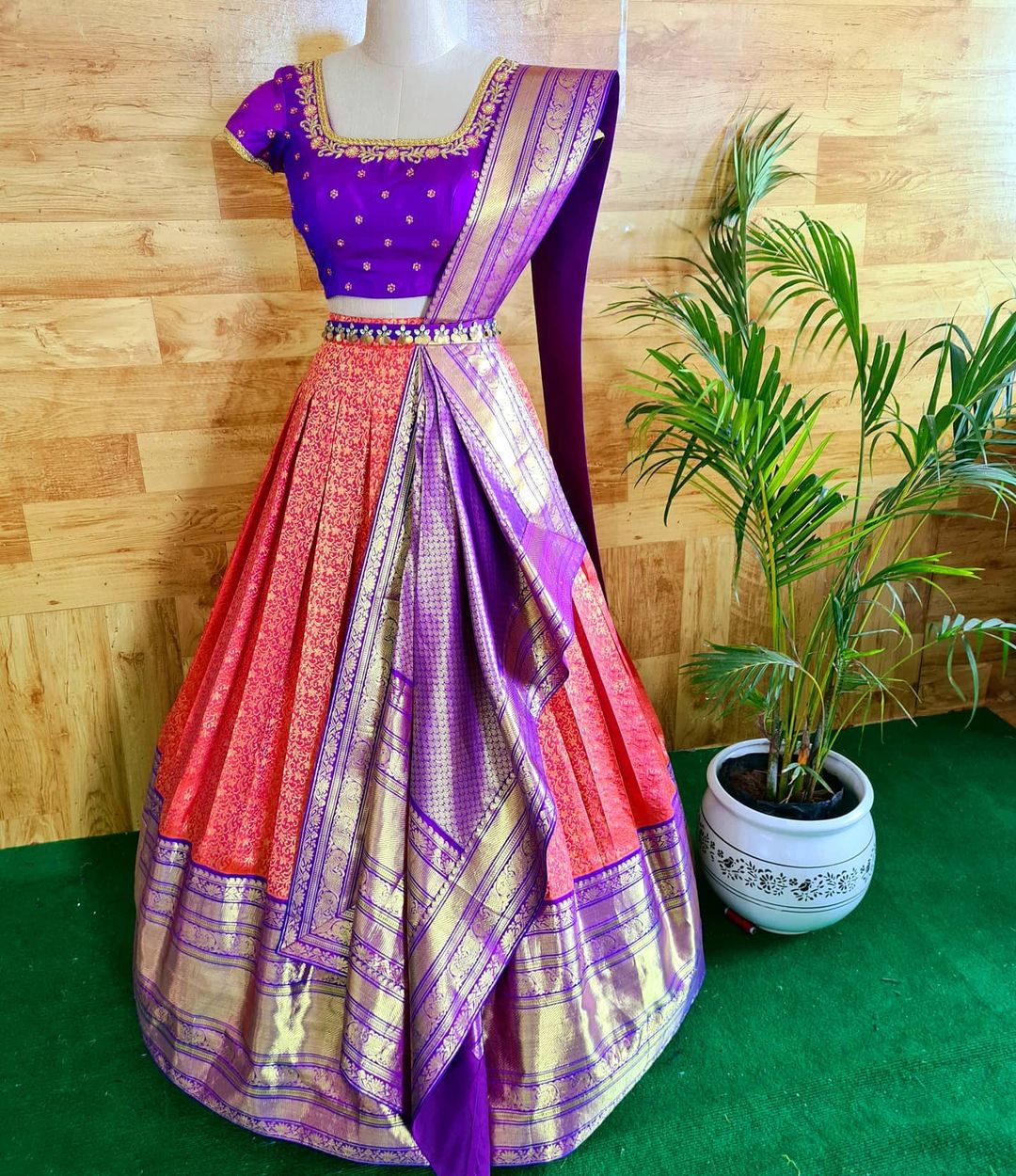 Redefine occasion wear with this Pre draped and stitched duppata on a crop top and pattu skirt. . 2021-05-07