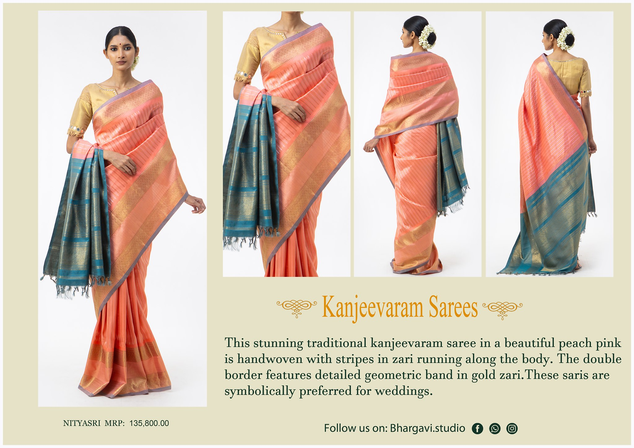 Stunning traditional kanjeevaram saree in a beautiful peach pink is handwoven with stripes in zari running along the body. The double border features detailed geometric band in gold zzari.  2021-05-08