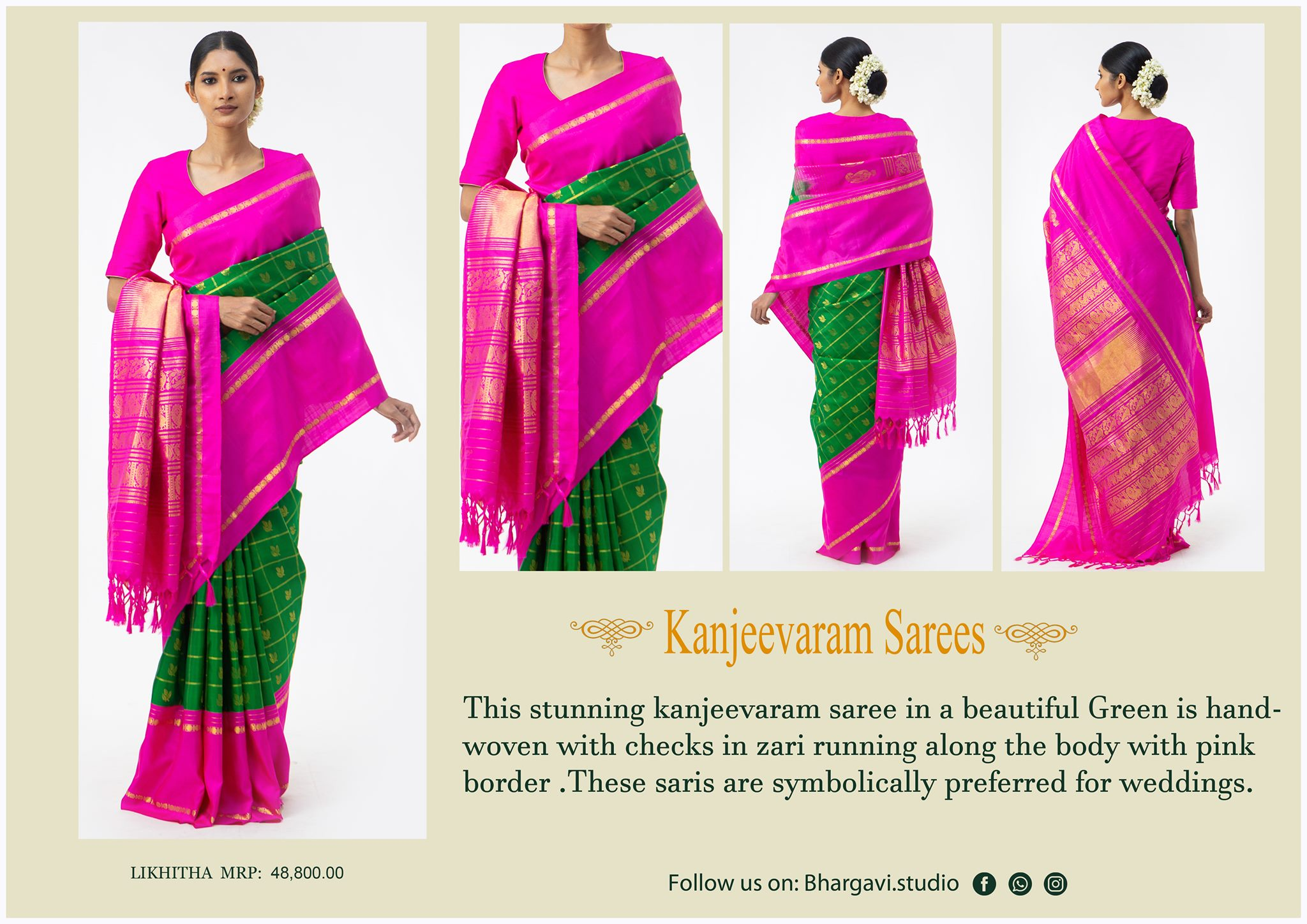 Stunning traditional kanjeevaram saree in a beautiful green is handwoven with checks in zari running along the body with pink boarder. Price : 48800/- 2021-05-08