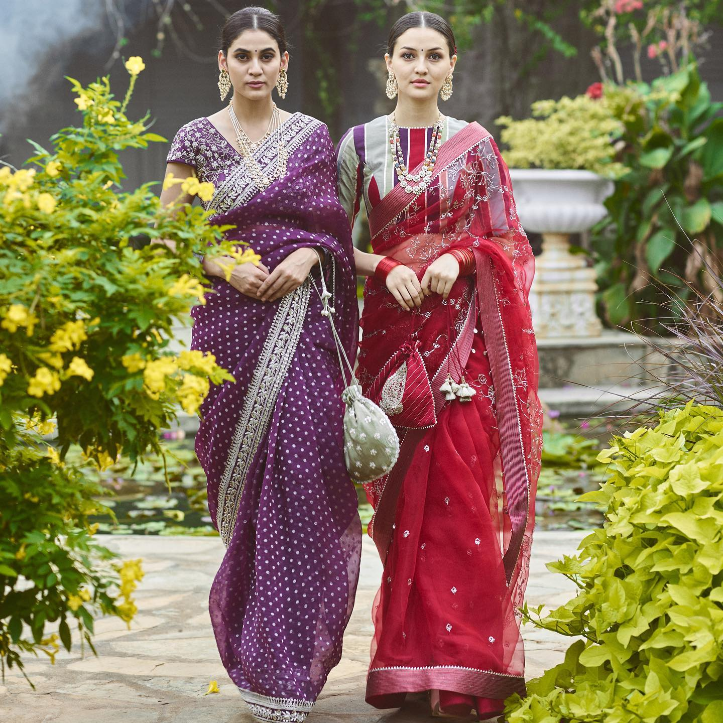 Phulwari . Seen on Andleeb is organza benaras purple saree with a beautiful dori work border paired with a stunning cutdana blouse. On Gulshaat is red organza saree with intricate pita embroidery. The red saree is paired with a patchwork blouse to give it a modern twist.  To shop new collection Phulwari DM  or Whatsapp  on +91 6302 878 533… 2021-05-08