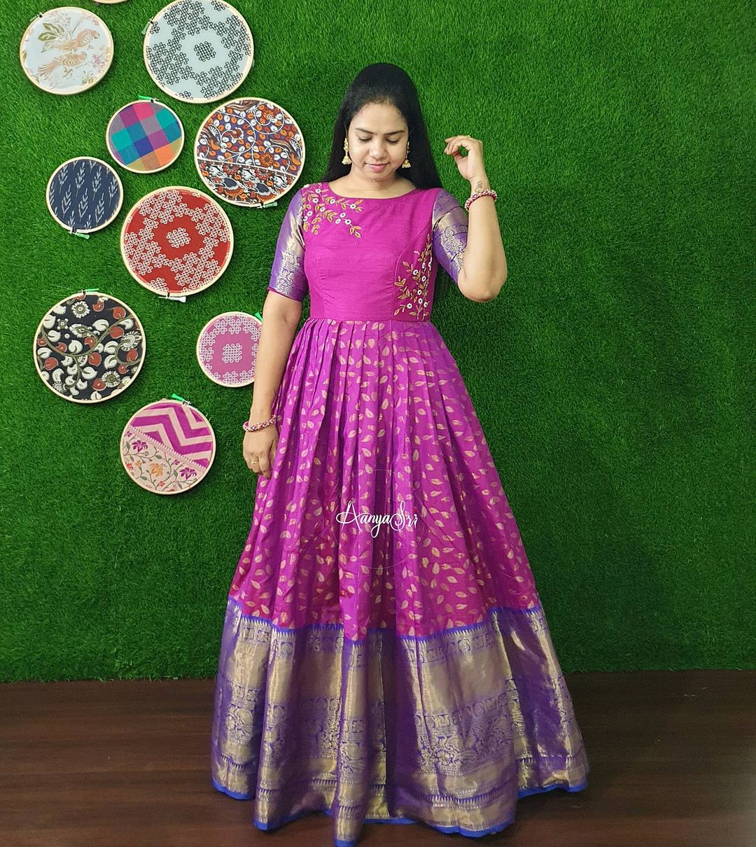Purple Leaves. RS. 5300/- Purple Traditional pattu long frock with intricate hand worked yoke. 2021-05-08