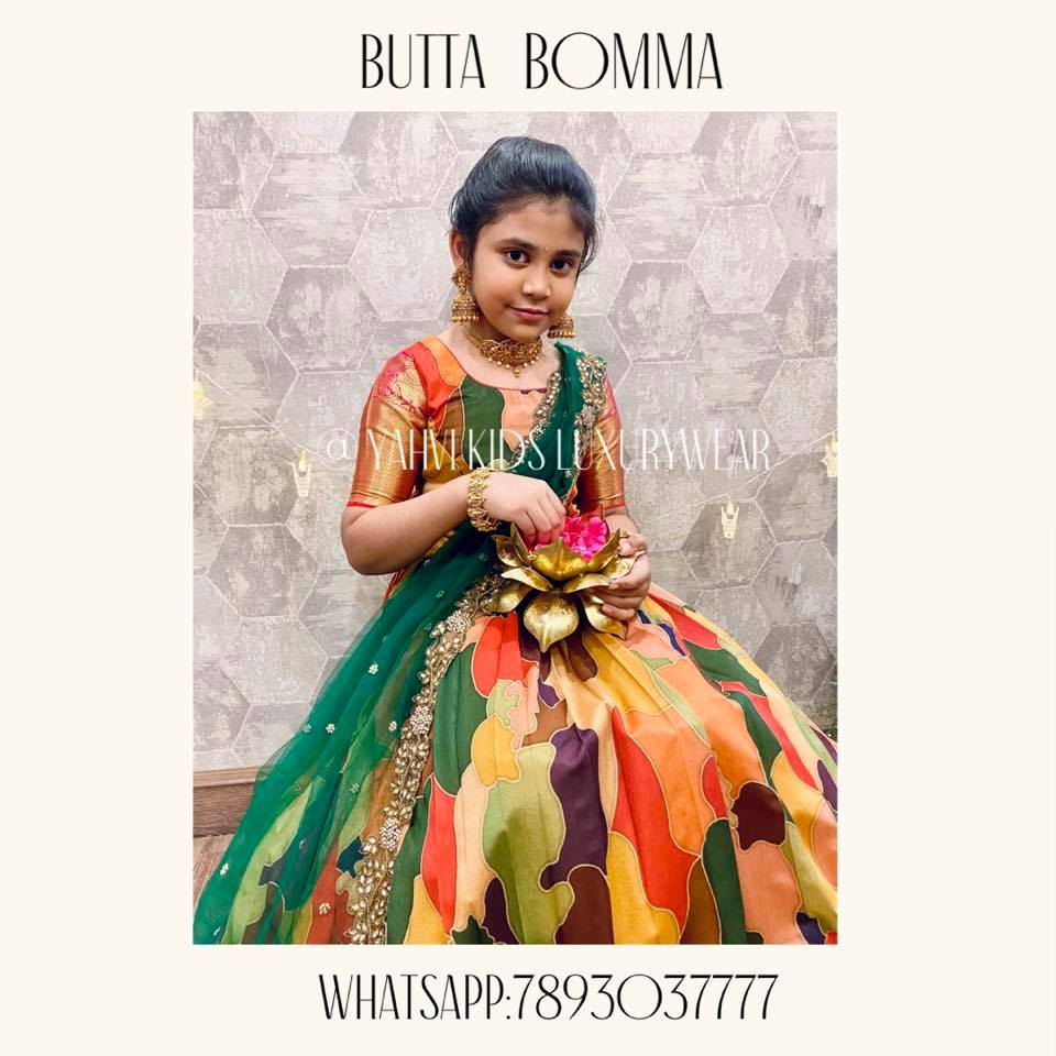 Forever love for this beautiful piece from butta bomma collection in sabyasachi design fusion wear kids lehanga . . For Ordere  whatsapp 7893037777. 2021-05-09