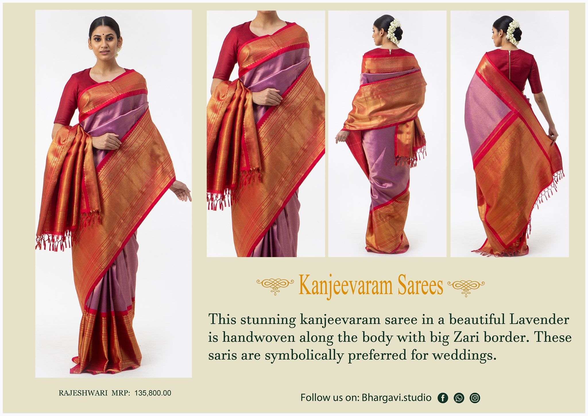This stunning kanjeevaram saree in a beautiful lavender is handwoven along the body with big zari boarder. 2021-05-09