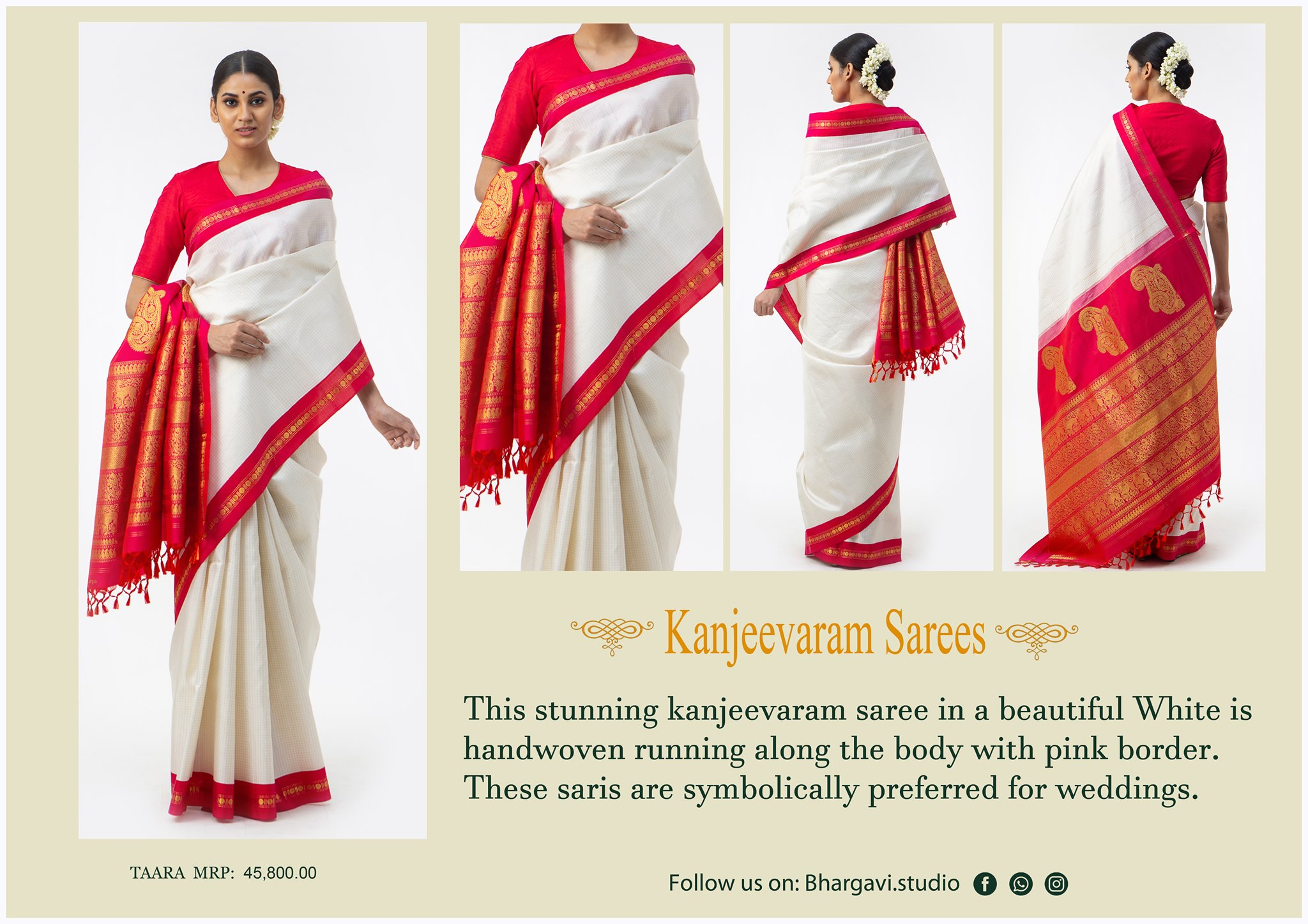 This stunning kanjeevaram saree in a beautiful white is handwoven along the body with pink big zari boarder. 2021-05-09