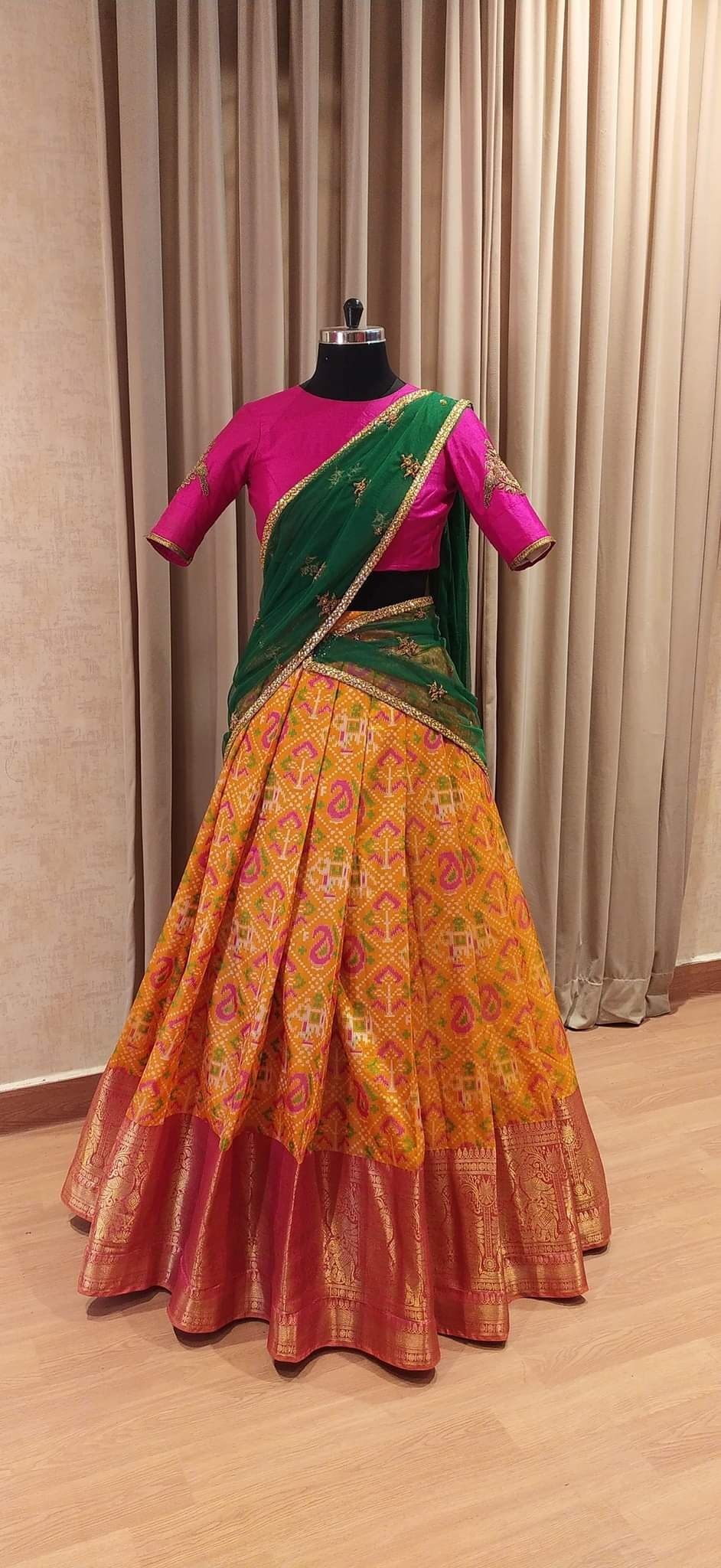 Traditional mustard Half saree set.