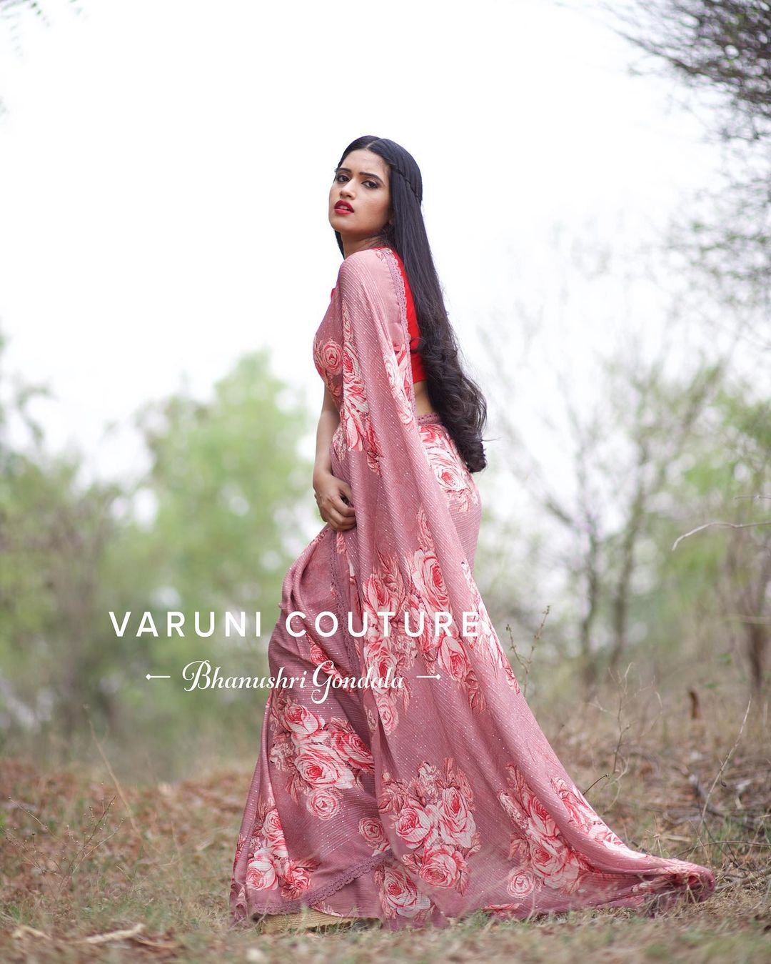 Stunning lavender  color floral saree and red color sleeveless blouse. Price 6999 INR  For sales / orders WhatsApp 9121017226 Email varunicouturehyd@gmail.com 2021-05-09