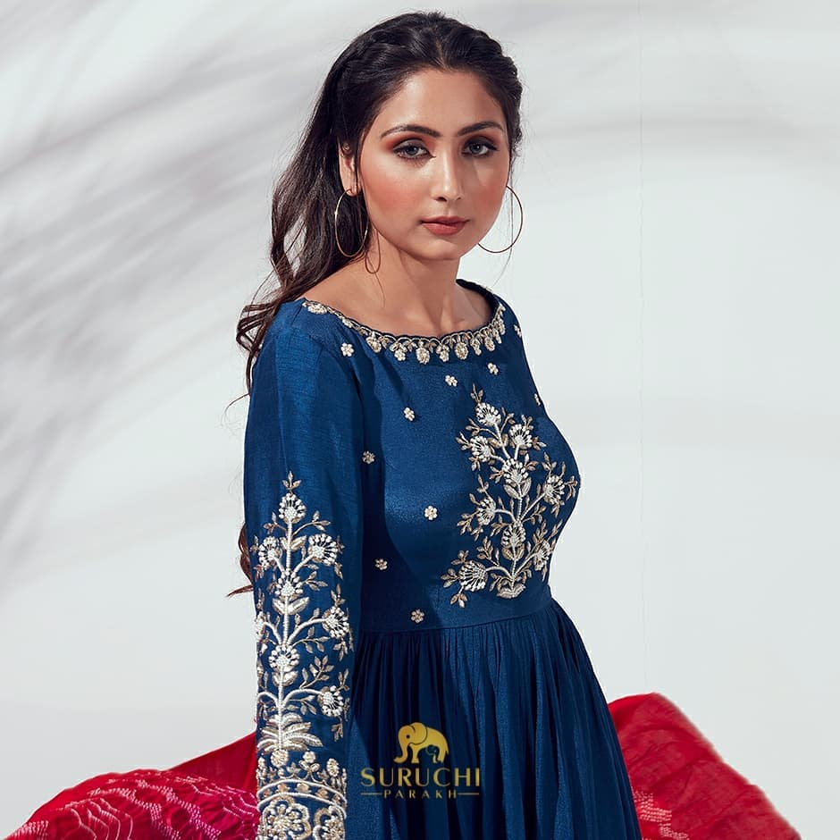Beautiful Royal Blue Anarkali Set for you to add a unique piece to your ethnic wardrobe definitely a must have! 2021-05-09