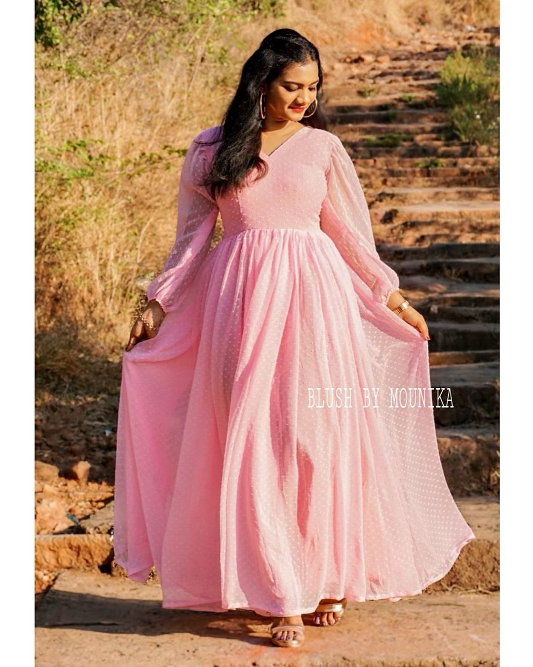 Pink Brasso. Price :  ₹3500. Baby pink pure georgette brasso dress with balloon sleeves. 2021-05-09