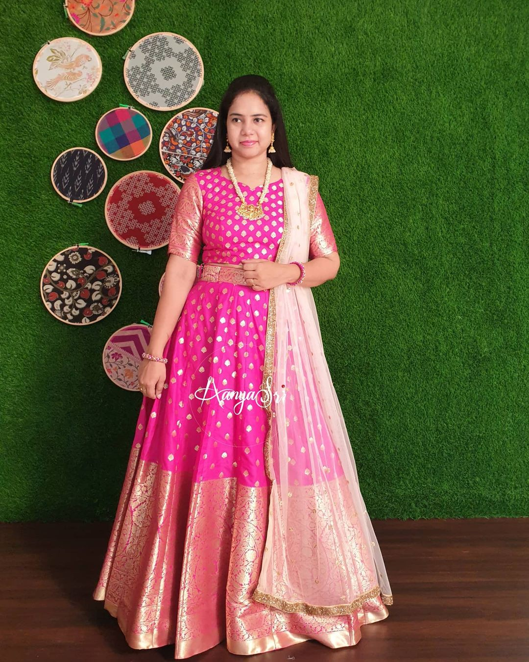 Pink Banarasi RS. 7200/- Pink banaras lehenga with gold buti all over paired with net dupatta . Perfect & elegant for weddings and parties ! 2021-05-09