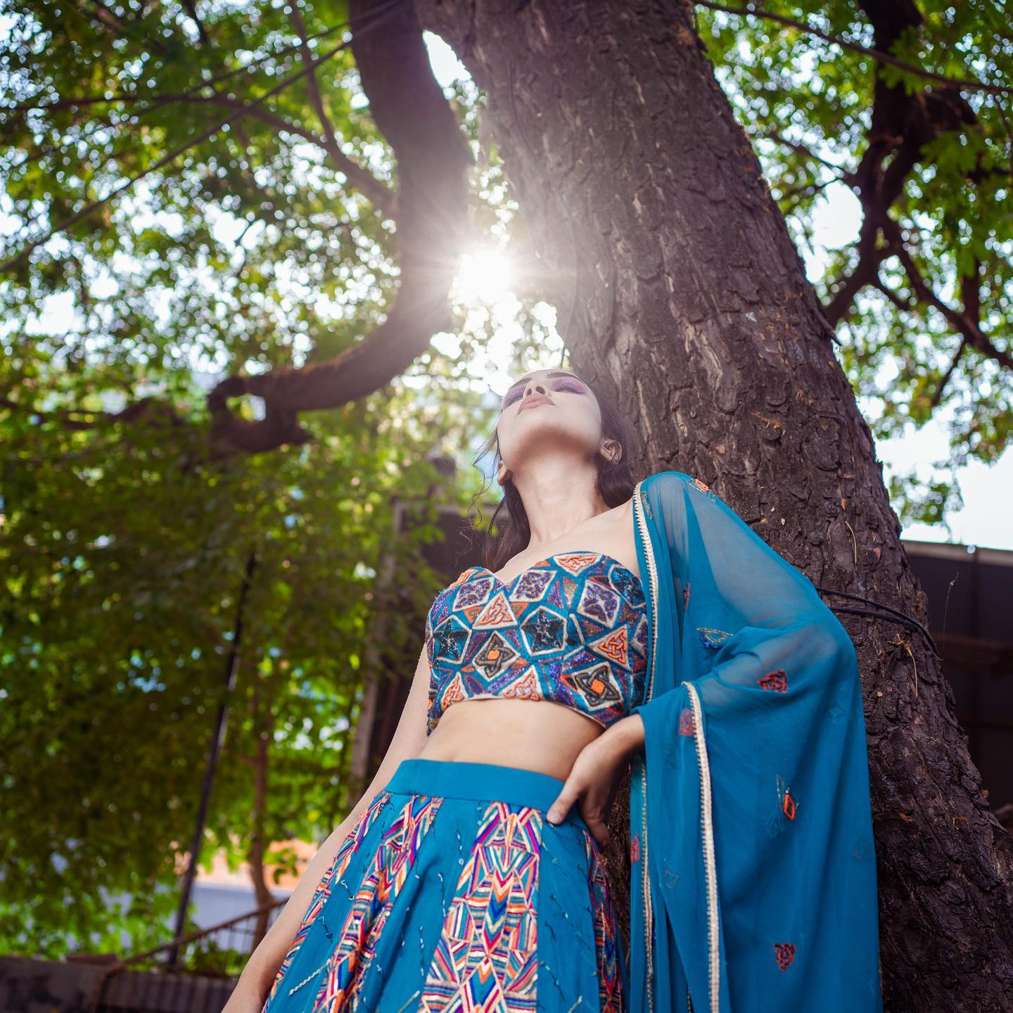 An ensemble with a fresh western blue colour palette and an amazing psychedelic form of embroidery in variant bright hues takes an eclectic twist on contemporary wear making each piece vibrant and versatile! 2021-05-10