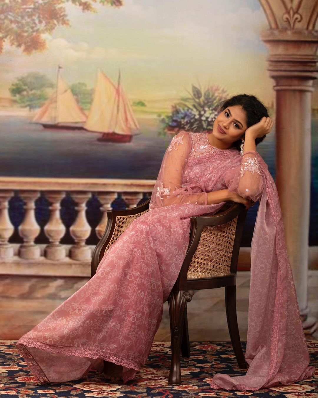 Faria Abdullah in Rococo print organza saree. 2021-05-10