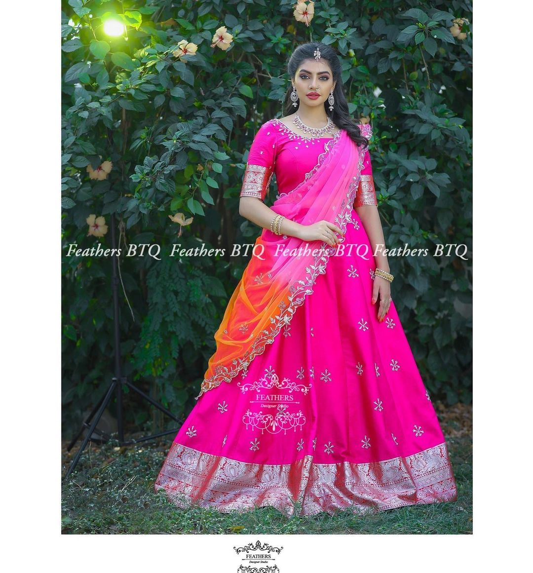 Beautiful pink color pattu langa and blouse with net dupatta. Blouse with hand embroidery work.  2021-05-10